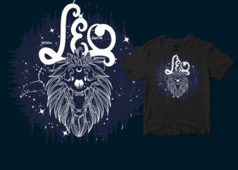 Leo Dark Line Zodiac T-shirt design