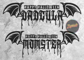2 Design Happy Halloween Dadculla and Momster tshirt design