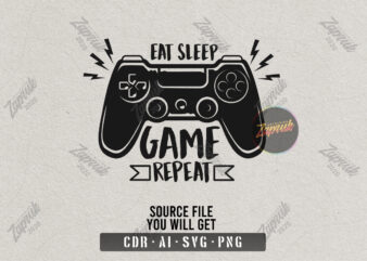 Eat sleep game repeat – Tshirt design for sale