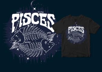 Pisces Dark Line Zodiac T-shirt design