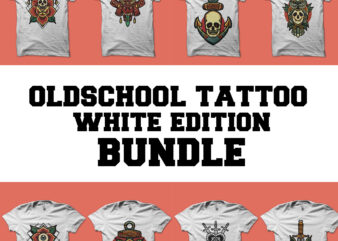 oldschool tattoo bundle white edition tshirt design