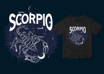 Scorpio Dark Line Zodiac T-shirt design