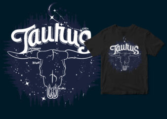 Taurus Dark Line Zodiac space t-shirt design