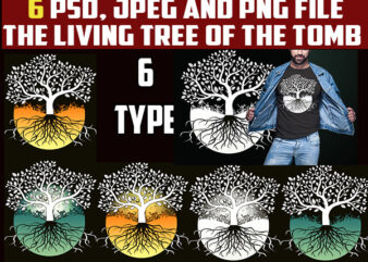 6 bundles the living tree of the tomb halloween png, jpeg and psd file