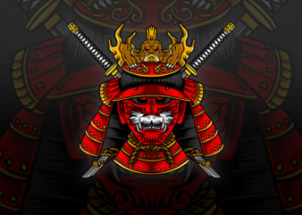Japanese Samurai Mask Vector Tshirt Design