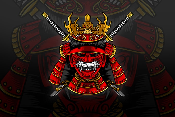 Japanese Samurai Mask Vector Tshirt Design Buy T Shirt Designs