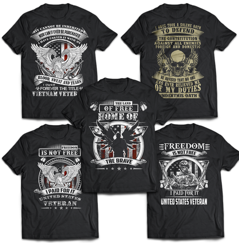 76 bundle american veteran, army and military tshirt designs psd file editable text and layers