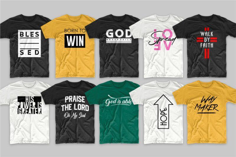 219 Christian t-shirt designs bundle, Trendy religion t shirt design bundles vector pack SVG PNG EPS