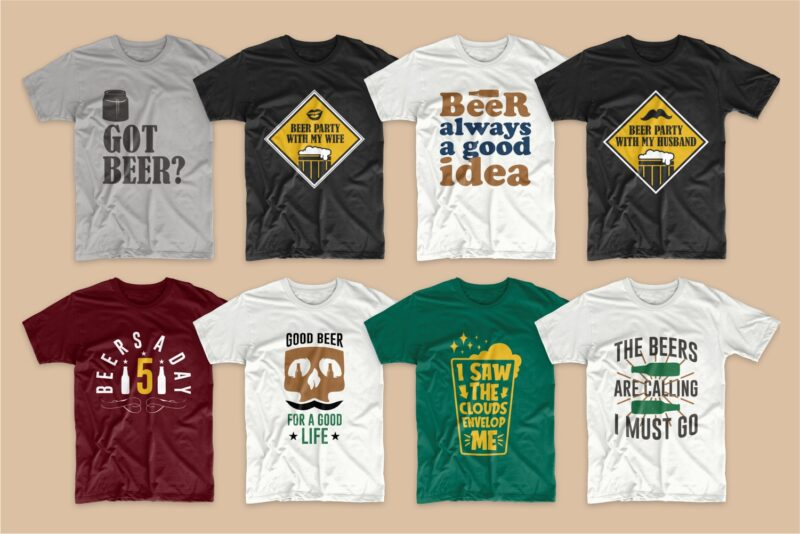 Beer t-shirt designs bundle svg. Beer t shirt design png bundles. Alcohol t shirt design. Drinker t shirts design. Quotes sayings about beer. Beer theme vector pack collection.