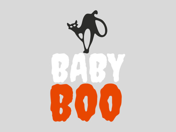 Baby Boo Cat Halloween t shirt template
