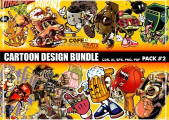 Cartoon t-shirt design bundle #2