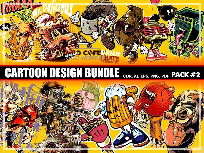 Cartoon t-shirt design bundle #2 - Buy t-shirt designs