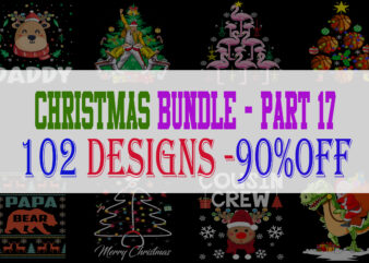 Christmas Bundle 17 – 102 designs – 90% OFF
