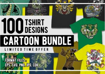 100 Cartoon Tshirt Designs Bundle