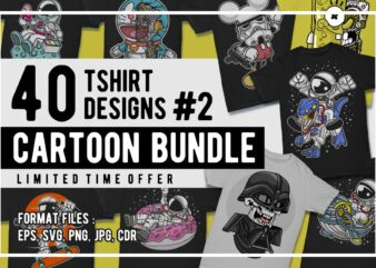 40 cartoon tshirt designs bundle #2