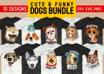 Dog bundle t-shirt designs SVG dogs bundles PNG. Cute animals t shirt designs vector