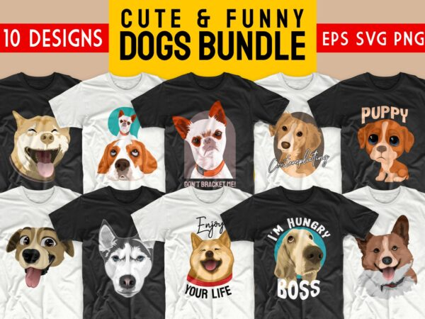 Dog bundle t-shirt designs SVG dogs bundles PNG. Cute animals t shirt designs vector