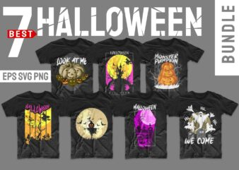 Halloween bundle svg png t-shirt designs bundles. Horror t shirt design illustration monster t shirts pack vector