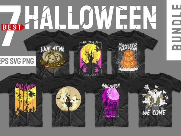 Halloween bundle svg png t-shirt designs bundles. Horror t shirt design illustration monster t shirts pack vector
