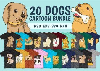 Dog cartoon bundle svg. Dogs t-shirt designs png bundles. Dog t shirt design pack collection. Cartoon bundle svg