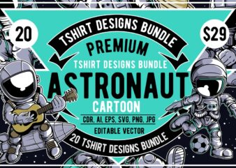 20 Astronaut Cartoon Tshirt Designs Bundle