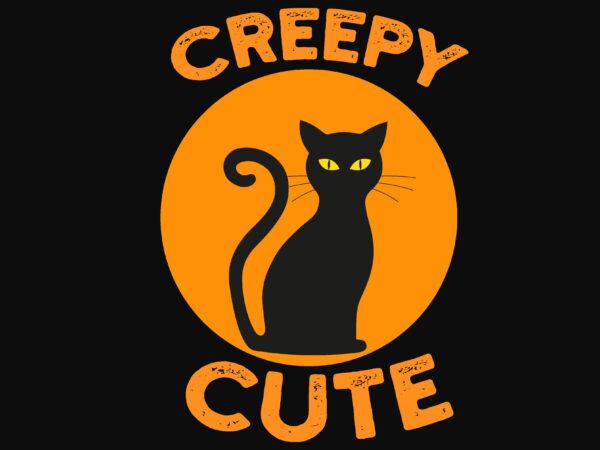 Creepy Cute Cat Halloween t shirt vector file