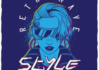 Retrowave style. Editable t-shirt design.