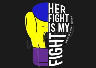Her Fight Is My Fight For Bladder Cancer SVG, Bladder Cancer Awareness SVG, Marigold, Blue and Purple Ribbon SVG, Fight Cancer SVG, Awareness Tshirt svg, Digital Files