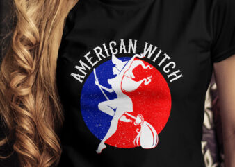 American Witch T-Shirt Design, Halloween American Witch T-Shirt Design, Pumpkin T-Shirt Design