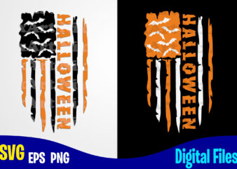 Halloween Flag, USA Flag, Happy Halloween, Halloween, Halloween svg, Funny Halloween design svg eps, png files for cutting machines and print t shirt designs for sale t-shirt design png