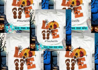 Love Halloween SVG, Grandma life SVG, Mom life SVG, Nurse Life SVG, Teacher Life SVG, Halloween SVG, Pumpkin SVG