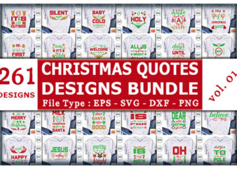 Best Selling Mega Christmas Quotes Tshirt designs Bundle
