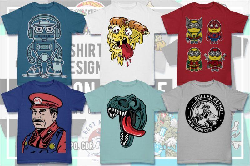 100 Cartoon Tshirt Designs Bundle