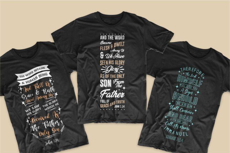 Christmas bible verses bundle T-shirt deisgn SVG PNG EPS, Typography lettering t shirts designs bundles, Bible verses bundle svg vector