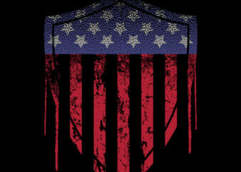"""""""Shield with Flag of USA"""" design tshirt vector template for sale"""