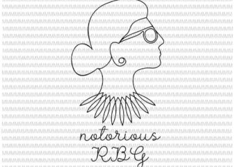 Notorious RBG svg, Ruth Bader Ginsburg svg, Ruth Bader Ginsburg vector, Profile Line Drawing, svg for Cricut Silhouette