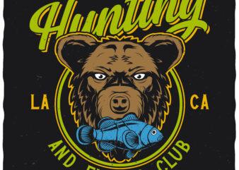 Hunting and fishing club. Editable t-shirt design.