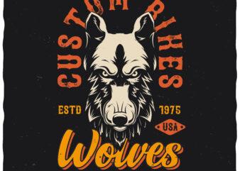 Wolves Custom Bikes. Editable t-shirt design.