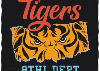 Tigers. Editable t-shirt design.