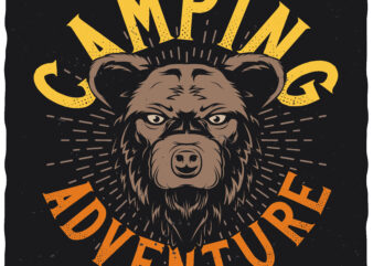 Camping adventure. Editable t-shirt design.