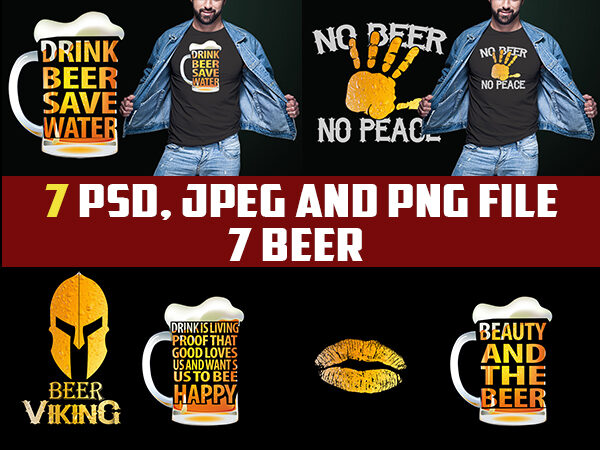 7 BEER bundle exclusive edition tshirt designs psd png and jpeg