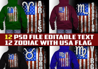 12 zodiac birthday WITH amercan flag bundle tshirt design psd file editable text and layer zodiac#10 UPDATE