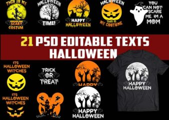 21 Halloween Bundle buy TSHIRT Designs psd file editable text and layers png file