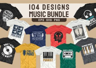 Music t-shirt designs bundle SVG. Music t shirt design PNG bundles vector. T-shirt design for music. Trendy t shirts slogans quotes pack collection