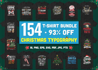 154 Special Christmas Typography Bundle – 93% Off – All style!!!