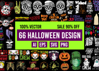 66 Halloween Design Bundle 100% Vector AI, EPS, SVG, PNG Transparent Background