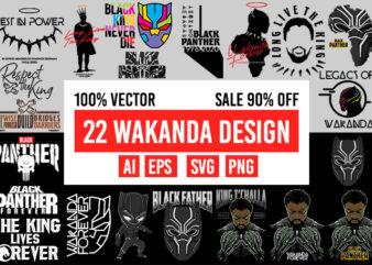 22 wakanda design bundle 100% vector AI, EPS, SVG, PNG transparet background