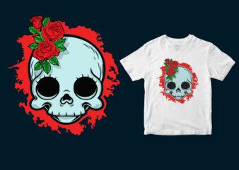 flower skull, halloween tshirt design