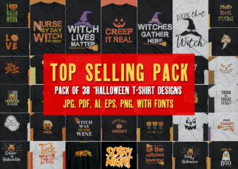 Best Bundle | Halloween T shirt Pack of 38 designs ready to print | Commercial use | Best offer