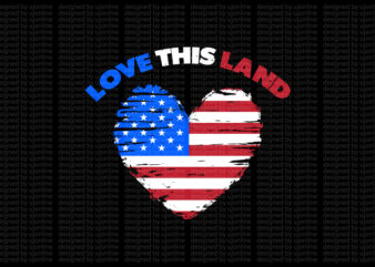 Love this land – American flag design – American flag t-shirt design – American flag heart – America